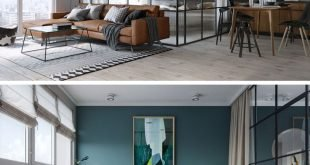 In dieser kleinen und modernen Wohnung hat das Schlafzimmer eine tiefe