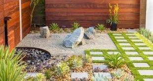 Kalifornien-Zen-Steingarten mit Ipe-Holz-Wasserspiel