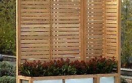 Gartenblende (Holz) HAMPTON Pavilion Rattan Massive Teakholzblende mit ...