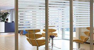 Selbstklebende Fensterfolie Sichtschutzfolie Statisch haftende Glasfolie für Fenster / Tür / Bad / Dusche / Wohnzimmer, Streifenmuster (17,7 x 78,7 Zoll)