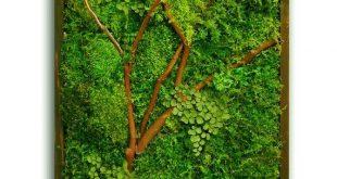"""18 x 36 """"Moos Wandkunst mit Manzanita Zweigen. Echte erhaltene Null-Pflege grüne Wand. Echte erhaltene Mo"""