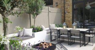 Gartengestaltung für Sitzbereich mit Feuerstelle