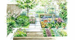 Skizze mit verschiedenen Räumen und durchsichtigem Pflanzenschutz.