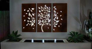 3 Stück Laser Cut Stahl Garten Screen Tree und Leaf Design.