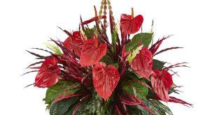 Fast natürliche gemischte Blütenschweif-hängende Korb-künstliche Pflanze, rot