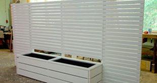 Pflanzgefäß Holz lang L mit Sichtschutz Geölt Weiß Domestic Douglasie Hergestellt i ...