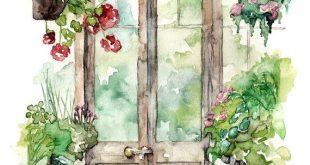"""Gewächshaus-Malerei - Druck von der ursprünglichen Aquarellmalerei, """"Gewächshaus"""", botanischer Druck, rote Pelargonie, Garten, Aquarell-Blumen"""
