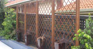 Inspirierte Landschaftsdesign Woven Rusted Steel Garden Lattice Screening