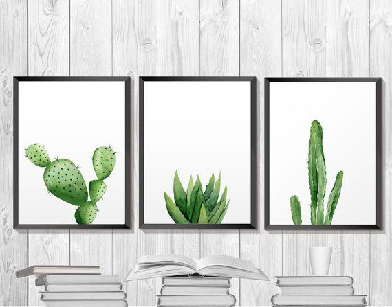 Kaktus-Print, Aquarell druckbare Kunst, Kakteen botanische Kunstwerke, südwestliche Pflanze Poster, Ökologie Home Decor, Küche Wand Kunst Poster