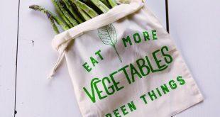 Mehrwegbeutel - kein Abfall - mehr Pflanzen essen - siebgedruckter Naturbaumwollbeutel - E