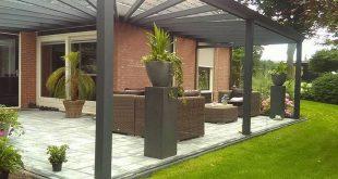 Modernes Terrassendach als Eckmodell aus Aluminium in Anthrazit - Q & S Ga ...