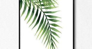 Palm Print, exotische Blatt Aquarell, tropische Wandkunst, Pflanze drucken, grüne Pflanze Poster, Kunstwerke zum Download, tropische Küche