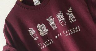 Pflanzen sind Freunde Shirt T-Shirt T-Shirt von hoher Qualität BILDSCHIRM DRUCKEN Superweiche unisex Worldwide Schiff Vegan T-Shirt Bäume Gärtner T-Shirt