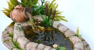 Puppenhaus Miniaturgarten, Teich, Puppenhaus Gartenteich. Fairy Garden Koi Teic ...