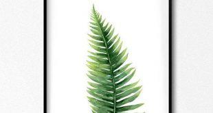 Remote-Druck. Blattaquarell. Waldblätter. Botanische Illustration. Pflanzenblätter Aquarell Poster. Skandinavische Wandkunst der Natur. Großer Druck