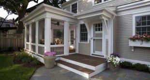 Screen Porch Kits Traditionelle Veranda und Container Pflanzen Deck Entrance Entry Fla ...