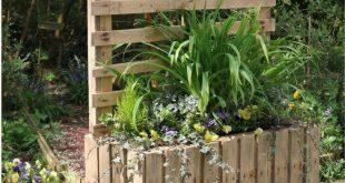 DIY Upcycled Palettenkübel & Sichtschutz #Gartenmöbel