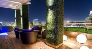 Dachterrasse, die Bodenterrassen-Planken-Buchsbaum-Hecken-Pflanzer - 2019 tut