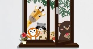 Howle-Fenster-Ansicht von Tierfreunden und von Schmetterlings-Gras-Wand-Abziehbild