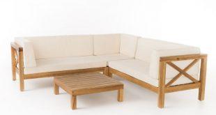 Marquez 4-teiliges Anbauset aus Holz mit beigefarbenen Kissen