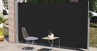 Neue einziehbare Markise für die Außenterrasse, Windschutzscheibe, Sichtschutz, Terrasse, Balkon, Schwarz, 6 x 10 Zoll Online-Shopping