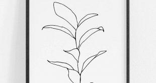 Set mit 3 botanischen Zeichnungen, Set mit botanischen Kunstdrucken, Set mit minimalen botanischen Kunstwerken, Blattlinienzeichnungen, Set mit drei Kunstdrucken, Set mit botanischen Kunstdrucken