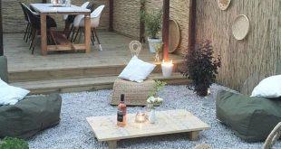 Sommerlicher Stil !! Moderner Bohème-Stil mit einer Terrasse aus Kieselkiefernholz und einer Holzterrasse