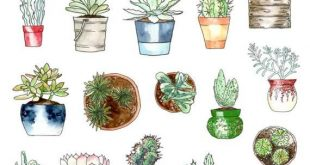 Topf Sukkulenten Planner Aufkleber | Succulents-Aufkleber | Kaktus-Aufkleber | Topfpflanzen-Aufkleber | Aquarell-Aufkleber (S-304)