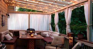terrasse holz baldachin lichter möbel wohnlichkeit