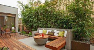 terrassendesign garten bambuspflanzen datenschutz beton holz bank tisch