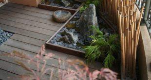 Bambusstangen Dekor Idee Privatsphäre Balkon Zen Gefühl