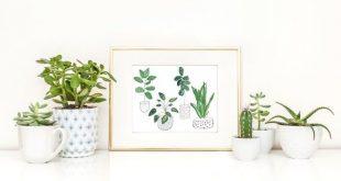 Botanische tropische Pflanzenmalerei | Modernes Pflanzendekor | Topfpflanze Illustration | 8 x 10 drucken