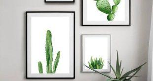 Grünpflanzendruck. Kaktus zum ausdrucken. Südwesten botanische Kunst, Tropic Decor Download, Aquarell minimalistischen Wandkunst. Innenplakate