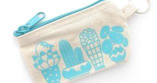 Happy Plants Coin Pouch (Reißverschluss Geldbörse Leinwand Siebdruck Baumwolltasche Zimmerpflanze Geschenk für Pflanzenliebe