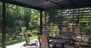 SunLouvre Pergolas Marke moderne Aluminium-Pergola mit Dach und Wand intim ...