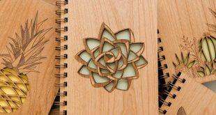 Tadelloses grünes saftiges hölzernes Tagebuch [Páginas en blanco Cuaderno de corte láser / Amantes de la planta / Gratitud]