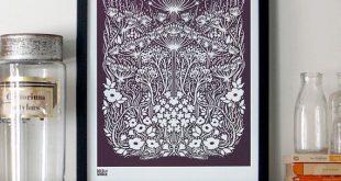 Wiese Siebdruck, Wiese Wandkunst, Wiese Wand Poster, Natur Wandkunst, Blume Wanddekoration, Pflanzen Siebdruck, Garten Wandkunst